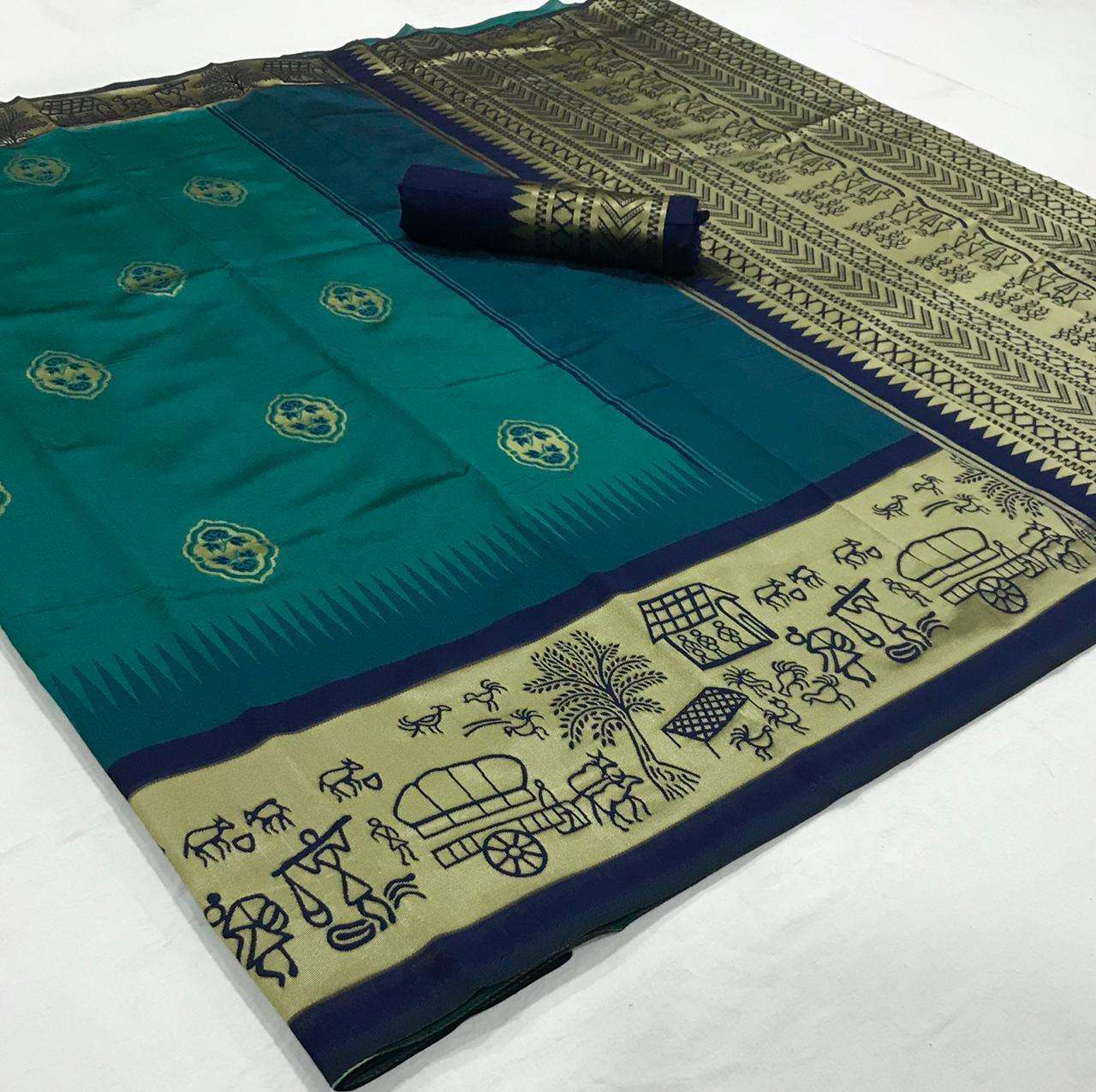 soft silk with Weaving Butta With Weaving Border saree collection 05