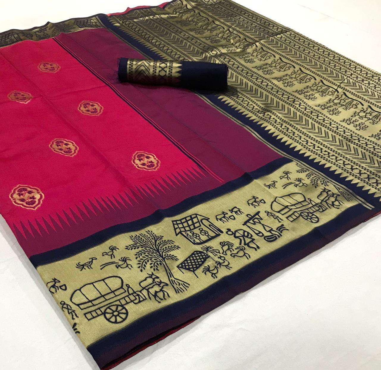 soft silk with Weaving Butta With Weaving Border saree collection  06