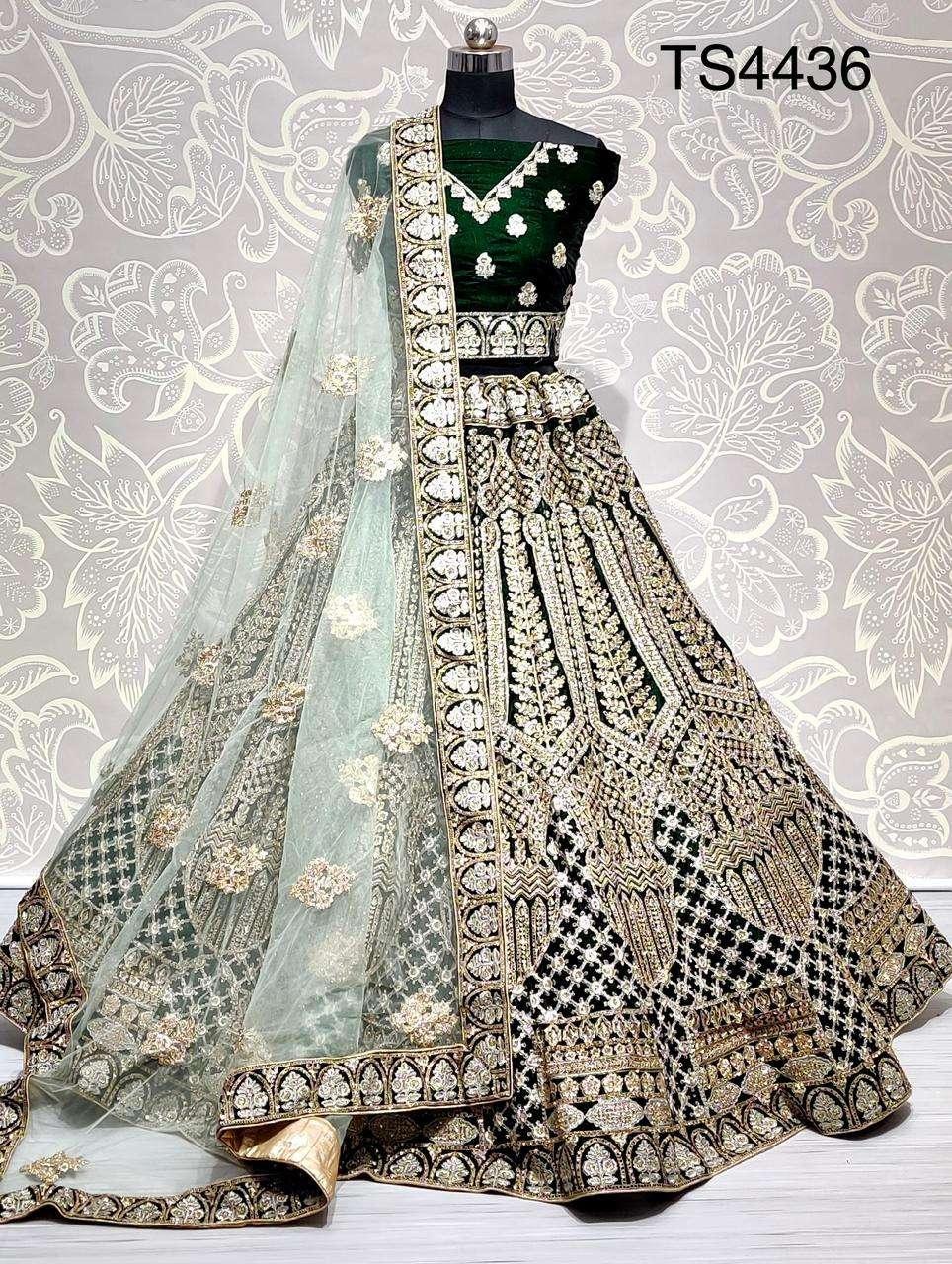 TS4436 velvet with double dori embroider with Zari work  bridal wear lehenga choli