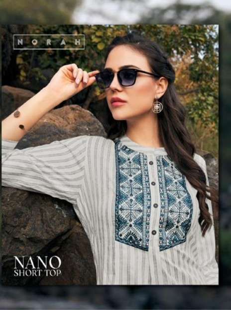 TUNIC HOUSE NANO RAYON WITH EMBROIDERY WORK SHORT TOPS COLLECTION