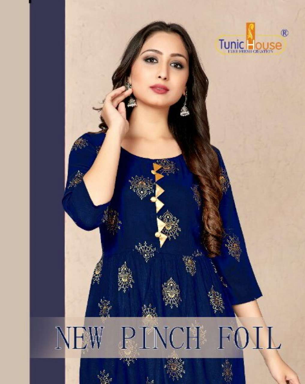 Tunic House New Pinch Foil rayon with Foil Print Kurti Collection