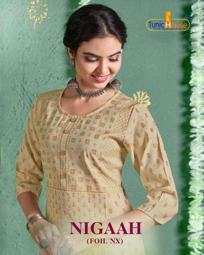 Tunic house Nigaah Foil NX rayon long slub Table Foil Print Kurtis Collection