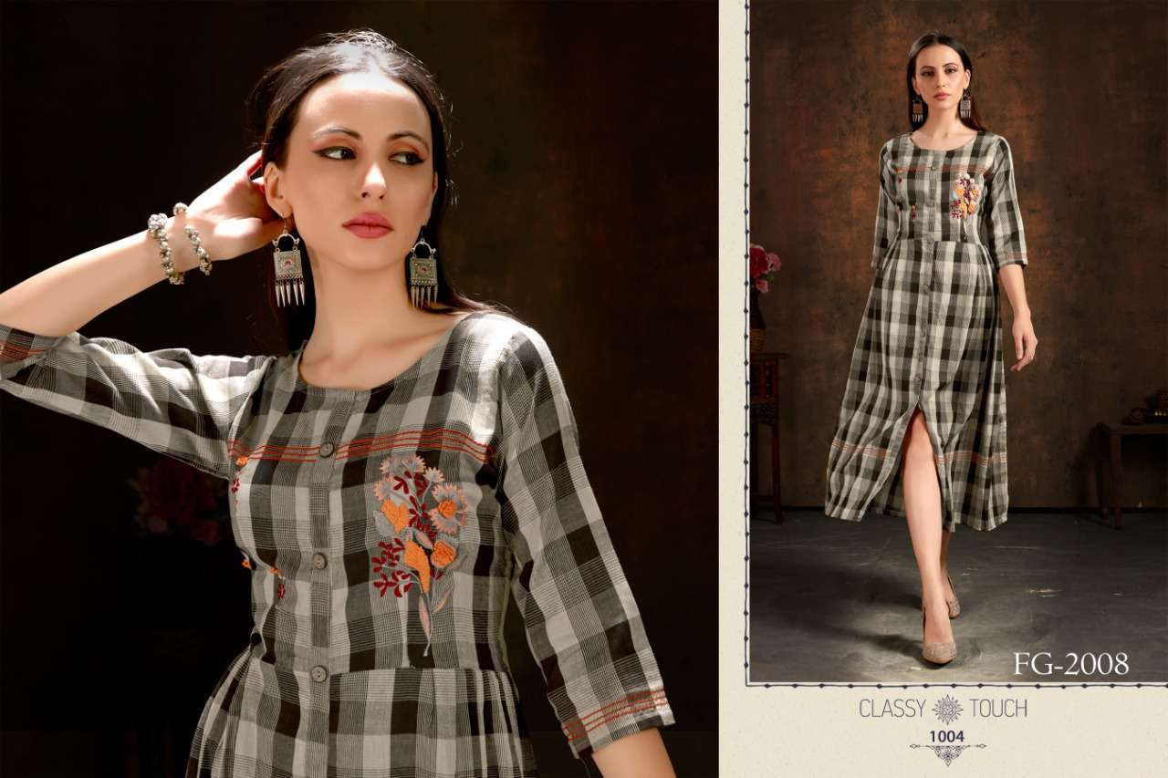 Unlock Vol 1 Cotton Checks With Hand Embroidery Work Kurtis Collection 01
