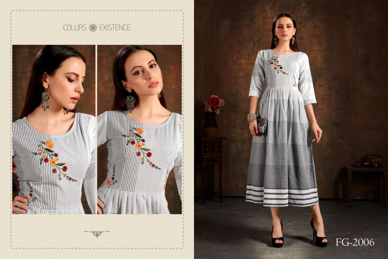Unlock Vol 1 Cotton Checks With Hand Embroidery Work Kurtis Collection 02