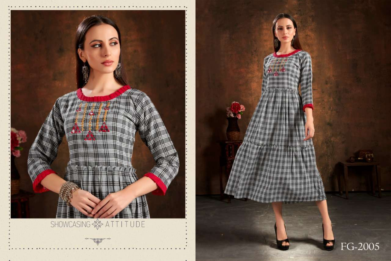 Unlock Vol 1 Cotton Checks With Hand Embroidery Work Kurtis Collection 03