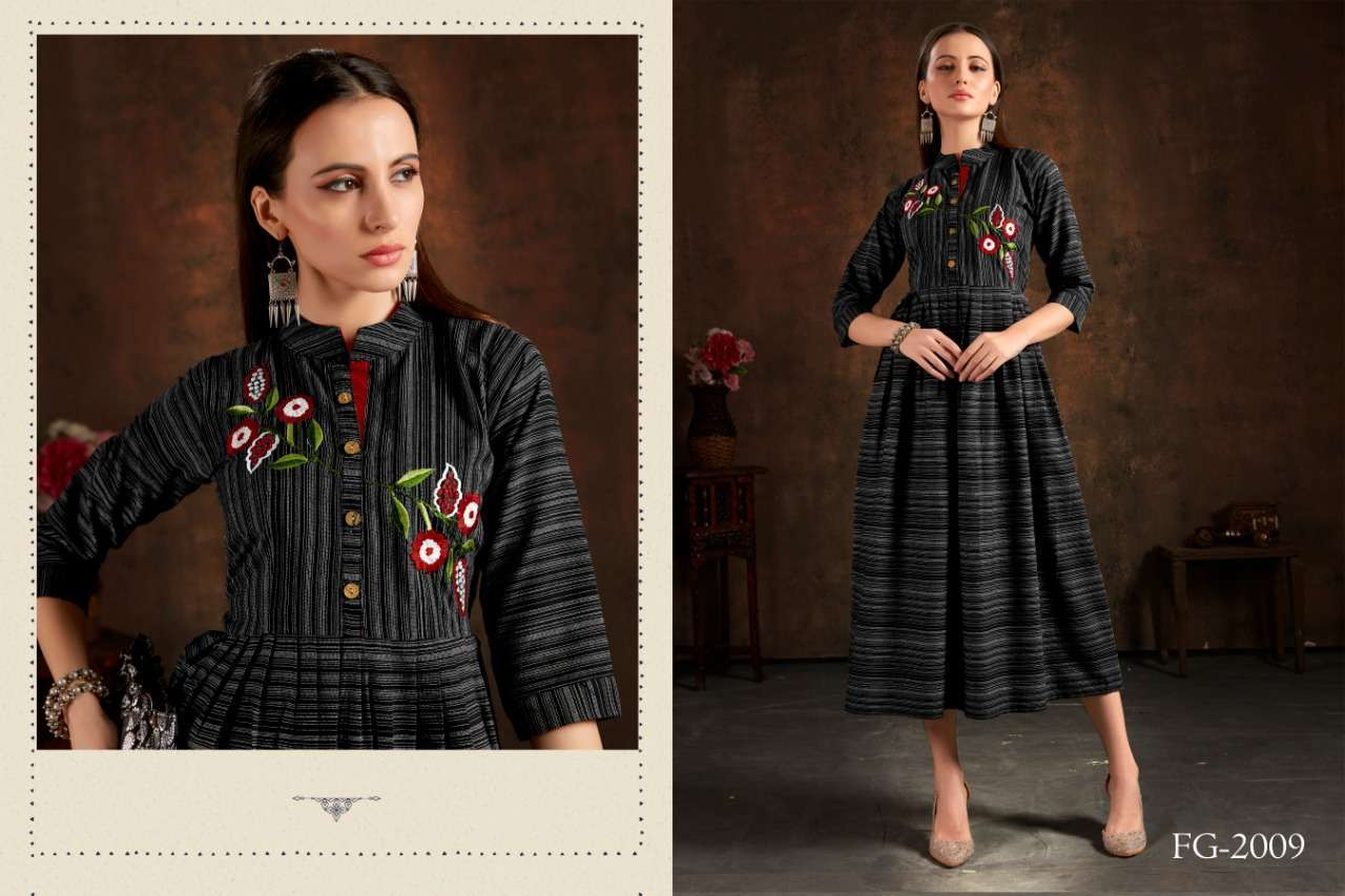 Unlock Vol 1 Cotton Checks With Hand Embroidery Work Kurtis Collection 04