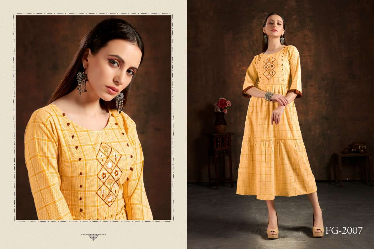 Unlock Vol 1 Cotton Checks With Hand Embroidery Work Kurtis Collection 05