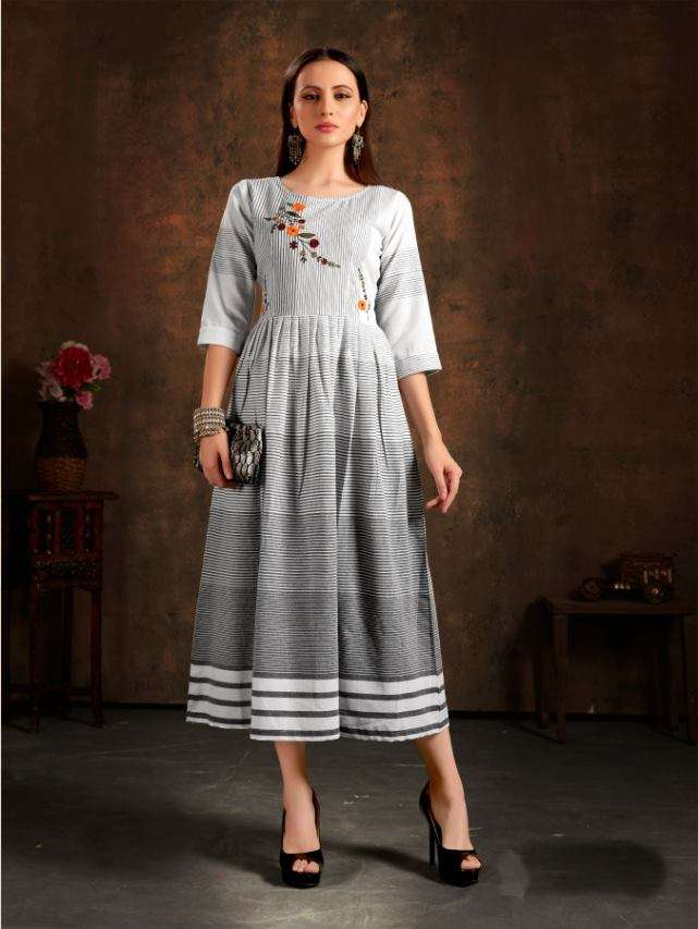 Unlock vol 1 Cotton Checks With hand Embroidery Work Kurtis Collection
