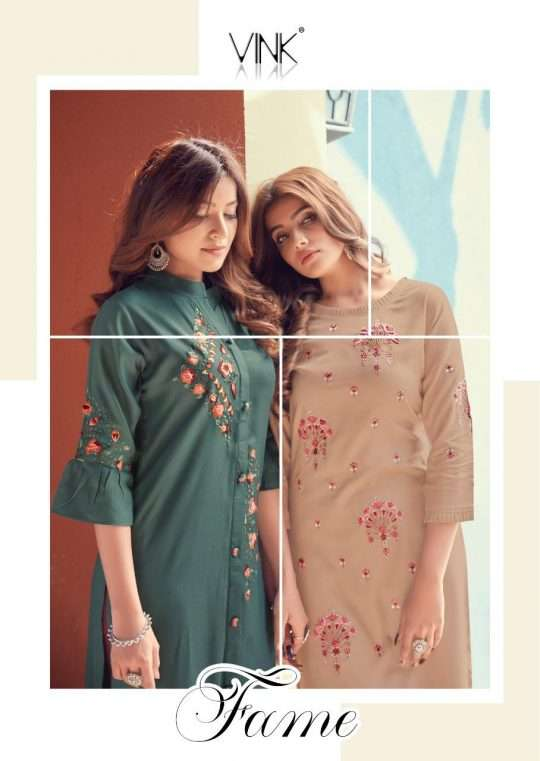 Vink Fame Premium rayon Cotton With Embroidery Work kurti With Pant Collection