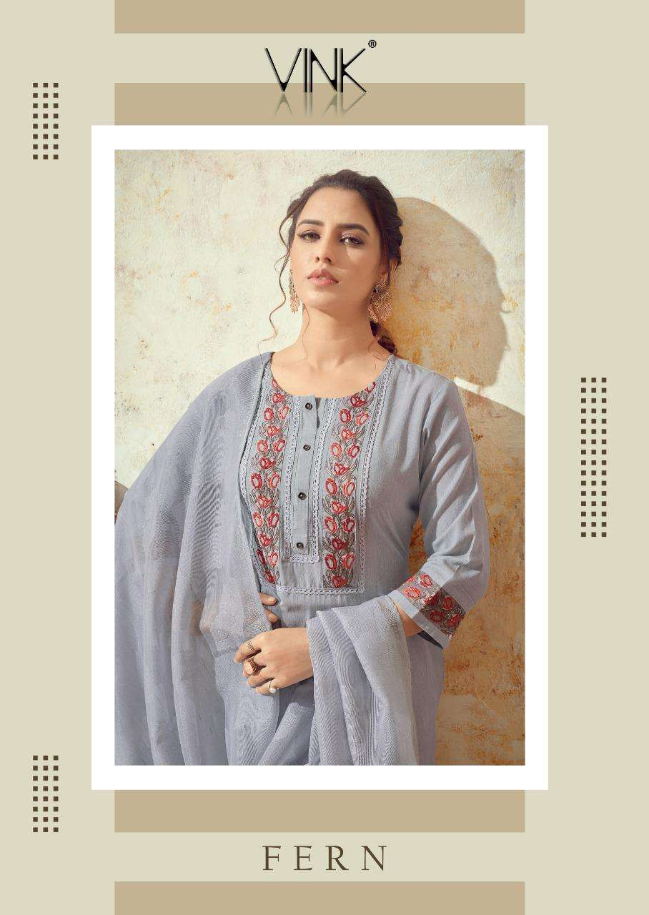 Vink Fern Pure Cotton With Embroidery Work Kurti With Pant Dupatta Collection