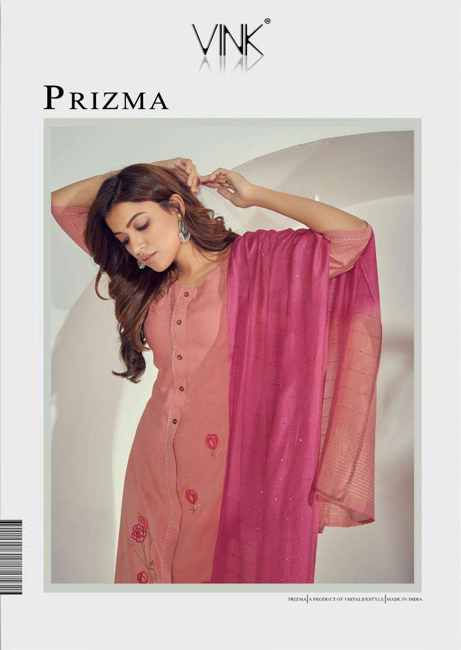 Vink Prizma Premium Rayon With Embroidery Work Kurti With Pant Dupatta Collection