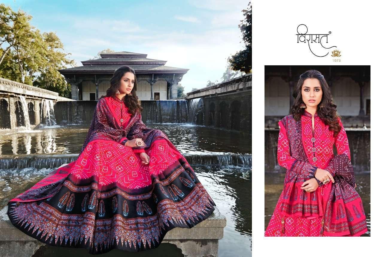 Virasat Rajgharana Silk Ajrakh Digital Print Long Gown With Dupatta Collection 01