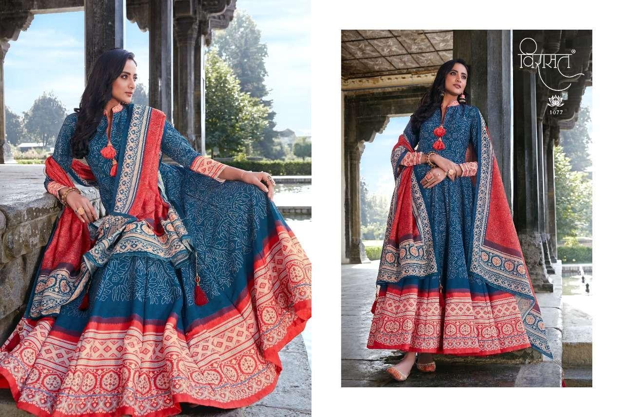 Virasat Rajgharana Silk Ajrakh Digital Print Long Gown With Dupatta Collection 05