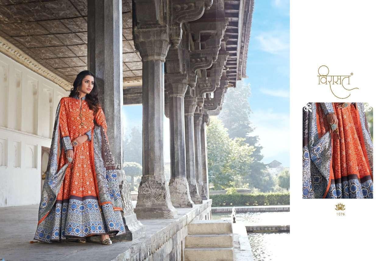 Virasat Rajgharana Silk Ajrakh Digital Print Long Gown With Dupatta Collection 06