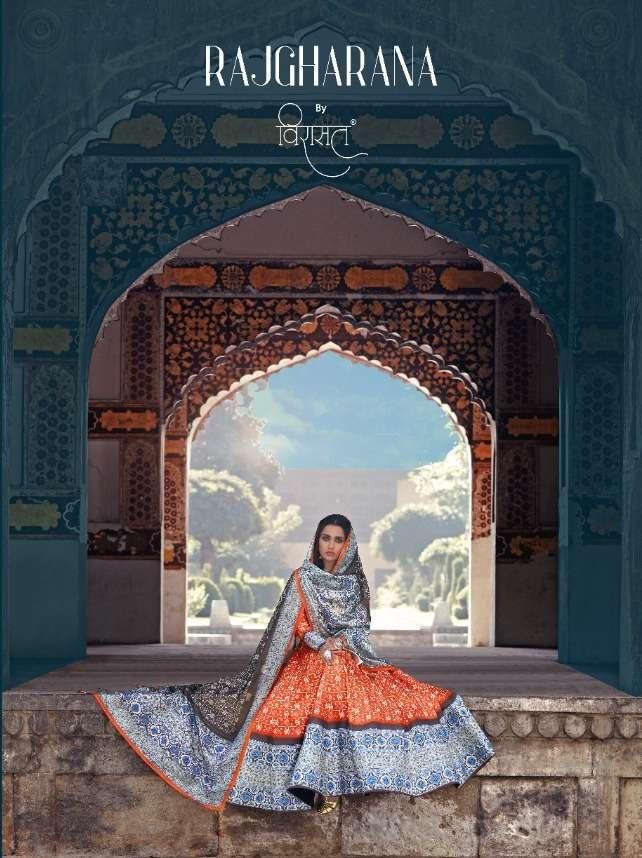 Virasat Rajgharana Silk Ajrakh Digital Print Long Gown With Dupatta Collection