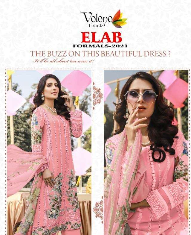 VOLONO TRENDZ ELAB FORMALS 2021 PURE CAMBRIC CHICKENKARI EMBROIDERY WORK PAKISTANI SUITS COLLECTION