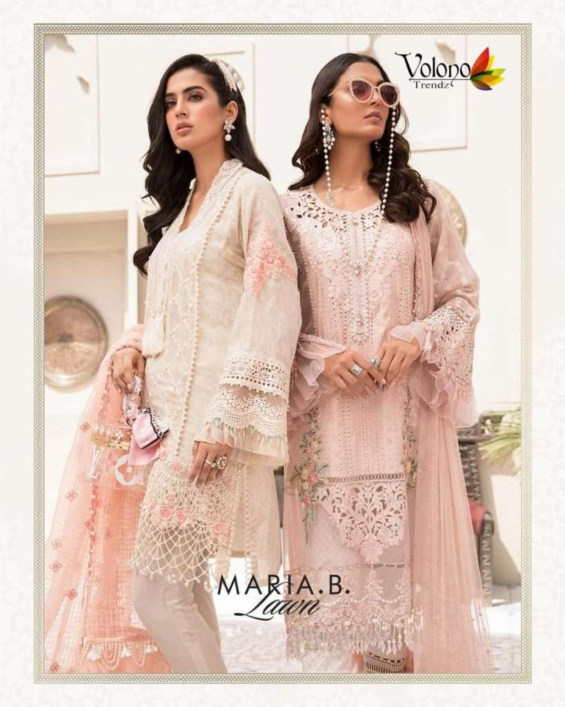 Volono Trendz Maria B Lawn Cambric print With Heavy Shiffli Patch Work Pakistani Suits Collection