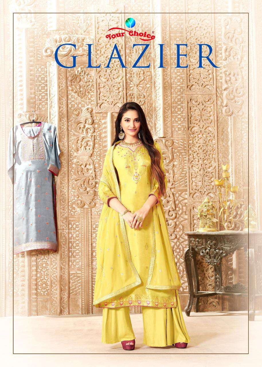 Your choice Glazier pure Dola Silk jacquard With Meenakari Work Dress Material Collection