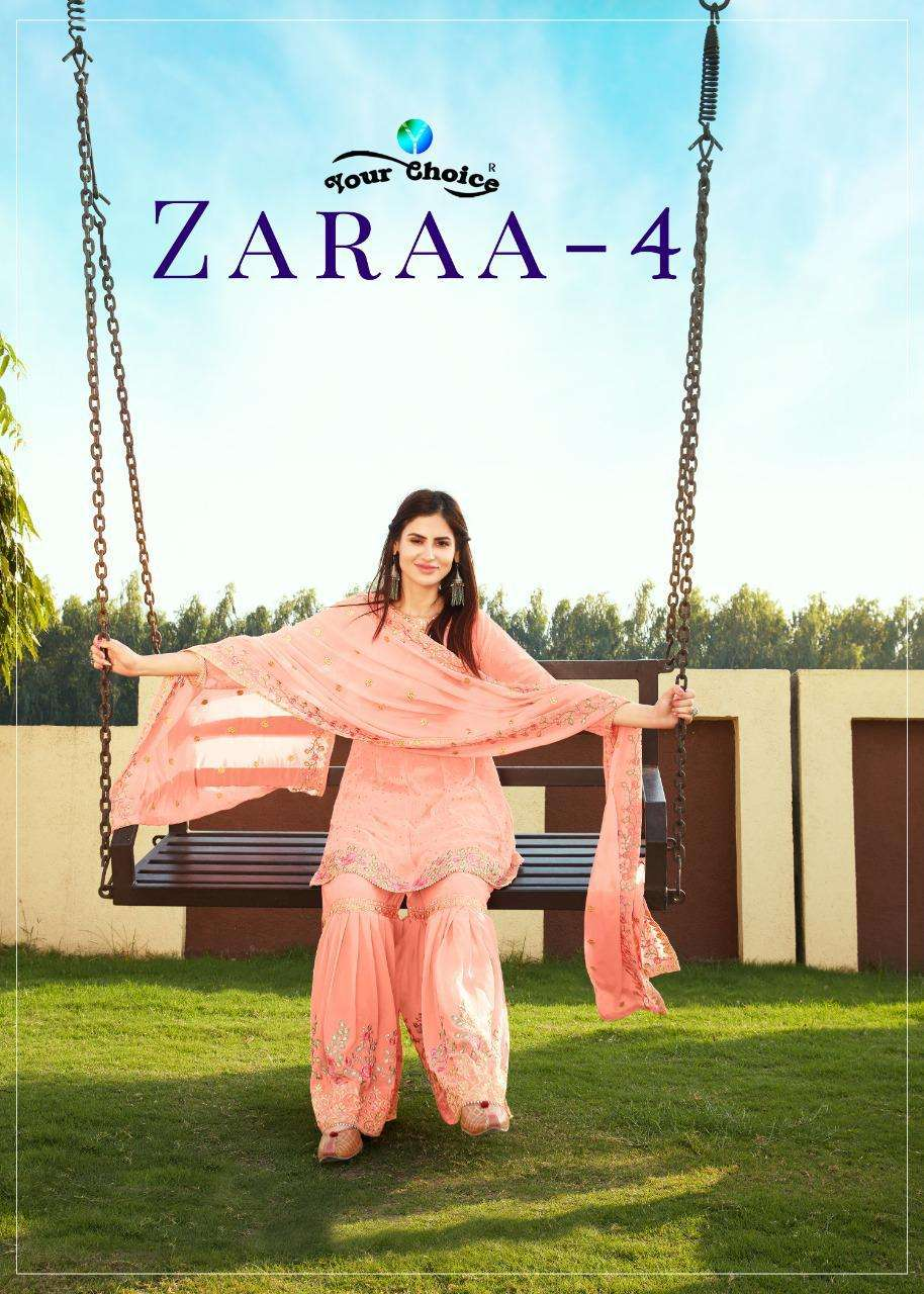 Your Choice Zaraa Vol 4 Georgette With Embroidery Work Sharara Suits Collection