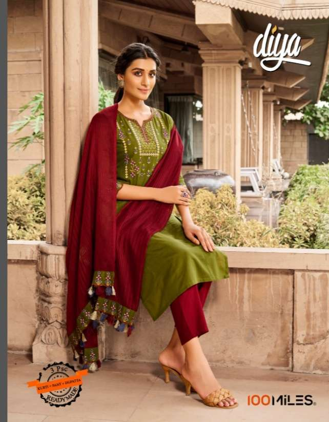 100 Miles Diya Cotton With Embroidery Work Kurti With Pant And Dupatta Collection