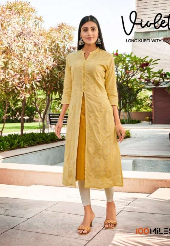 100 Miles Violet Cotton With Embroidery Work With Jacket Style Kurtis collection