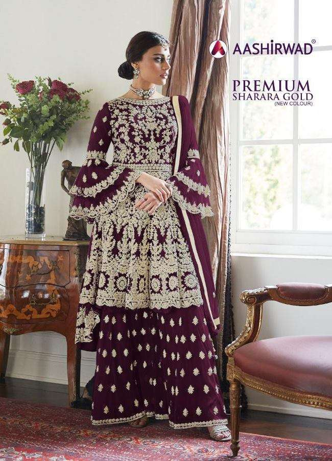 Aashirwad Creation Premium Sharara Gold Butterfly Net With Embroidery Work Salwar Kameez Collection