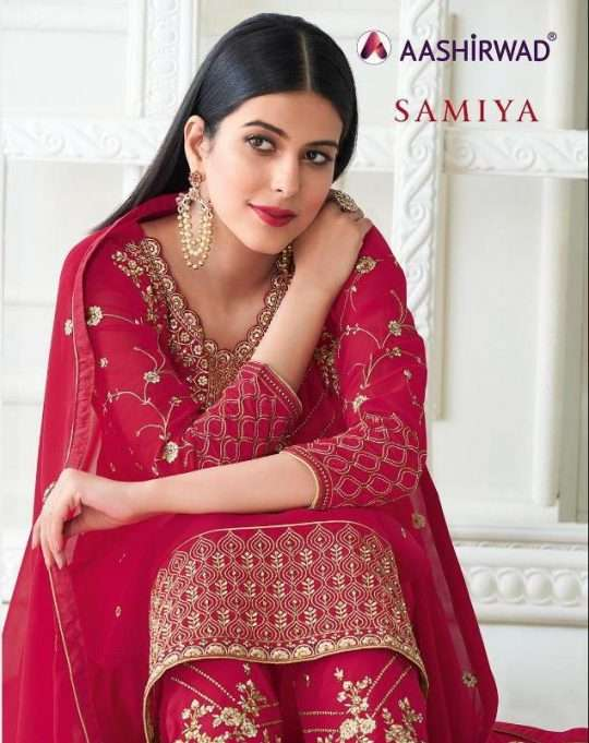 Aashirwad Creation Samiya Real Georgette With Embroidery Work Dress Material Collection
