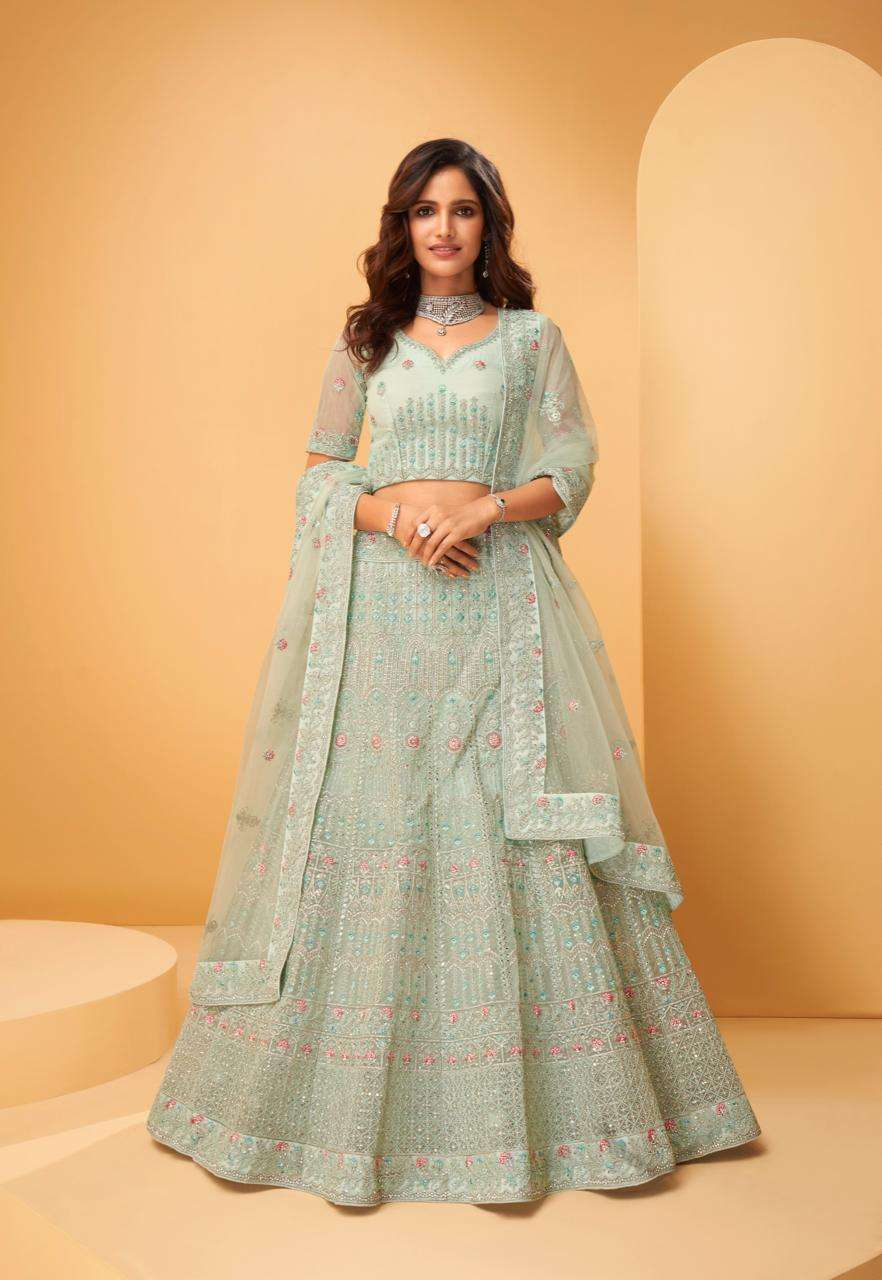 Alizeh Wedding Affair Net With Coding Embroidery Sequence Thread Work Designer Heavy Lehenga Choli Collection 1020
