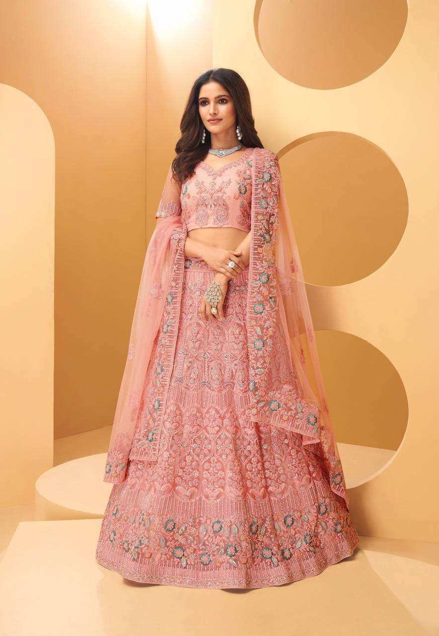 Alizeh Wedding Affair Net With Coding Embroidery Sequence Thread Work Designer Heavy Lehenga Choli Collection 1021