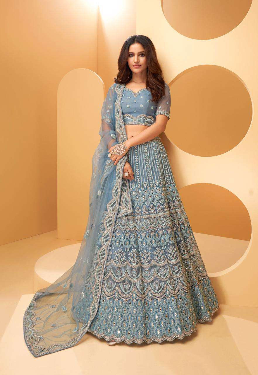 Alizeh Wedding Affair Net With Coding Embroidery Sequence Thread Work Designer Heavy Lehenga Choli Collection 1022