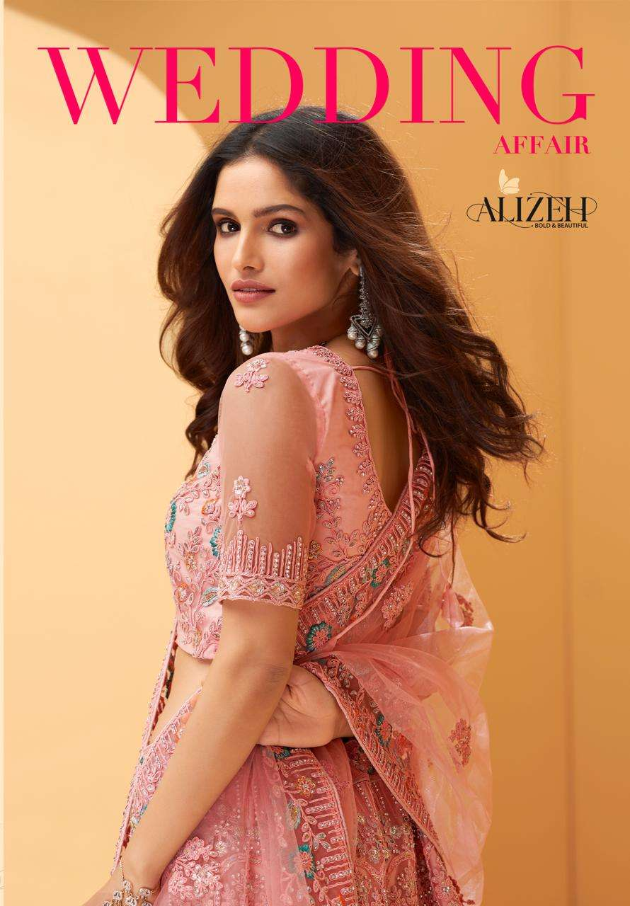 Alizeh Wedding Affair Net With Coding Embroidery Sequence Thread work Designer Heavy Lehenga choli Collection