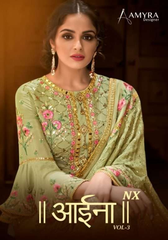 Amyra Designer Aaina Vol 3 NX Viscose Chinon With Heavy embroidery Diamond Work Dress Material Collection