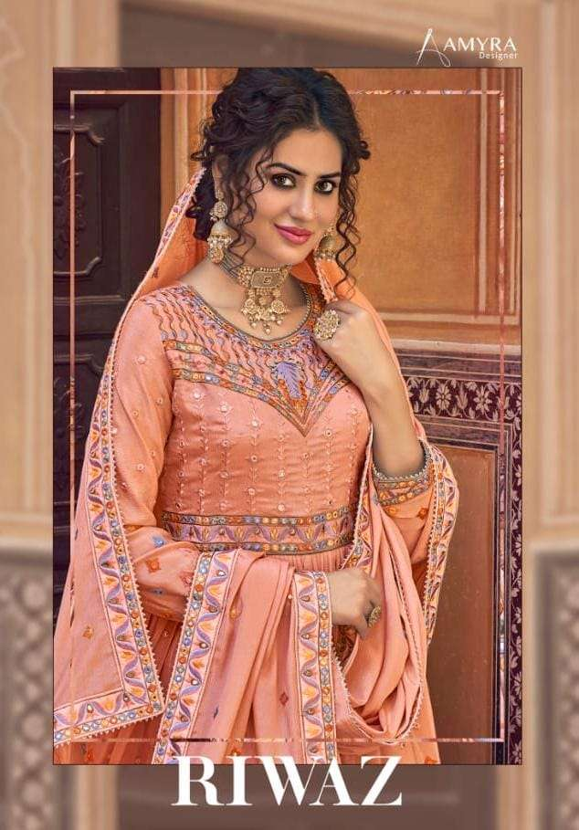 Amyra Designer Riwaz heavy Chinon silk With Embroidery Mirror Work Salwar Suits Collection