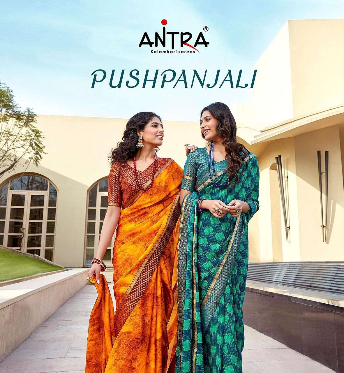 Antra Pushpanjali chines Chiffon With lace Border Sarees collection