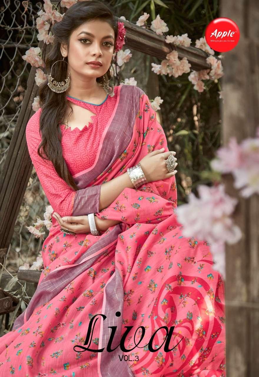 Apple Liva Vol 3 Linen Cotton With Border Regular Wear Sarees Collection