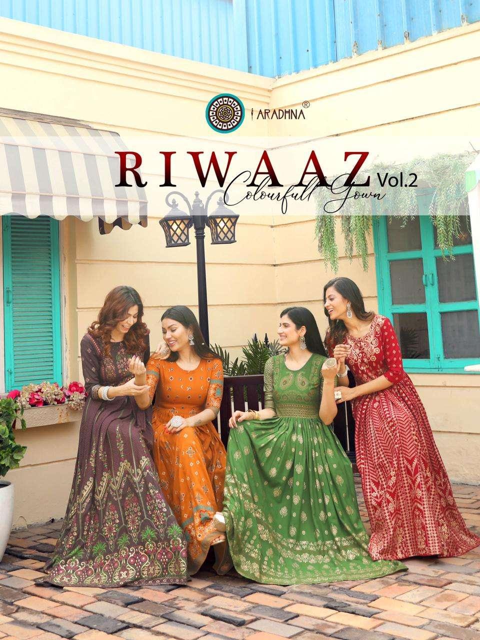 Aradhna Fashion Riwaaz Vol 2 heavy Rayon Long Anarkali Style Kurtis collection