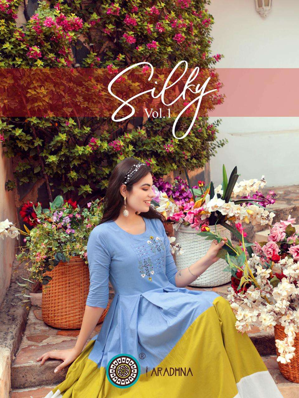 Aradhna Fashion Silky Vol 1 Heavy Cotton With Work Long Gown Style Kurtis collection