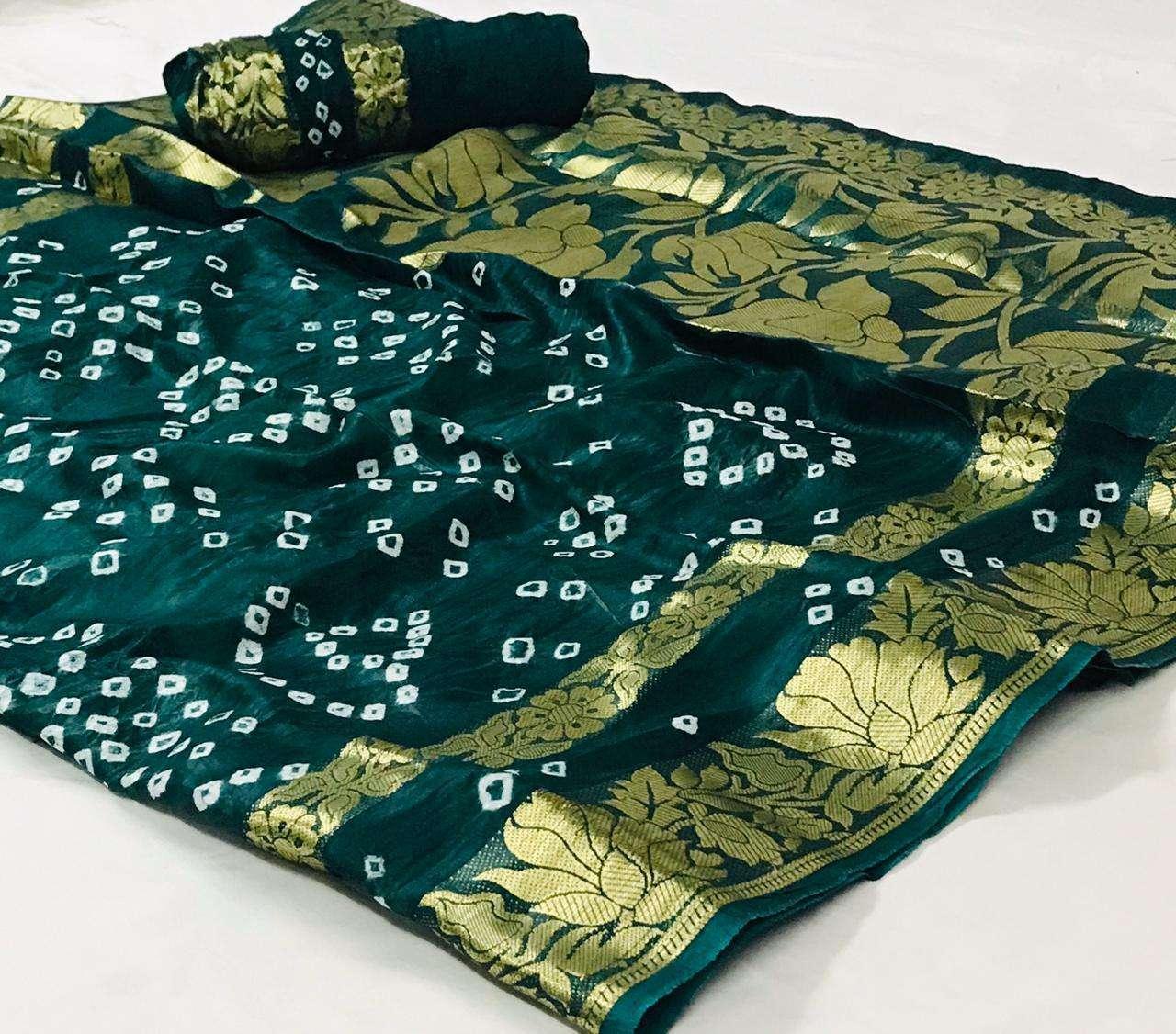 Art Silk With Zari Weaving Border Bandhej GREEN Sarees Collection