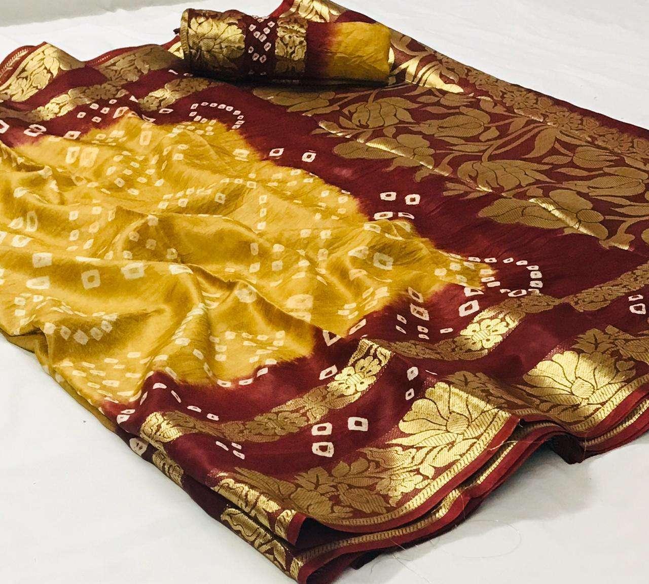 Art Silk With Zari Weaving Border Bandhej Sarees Collection 01