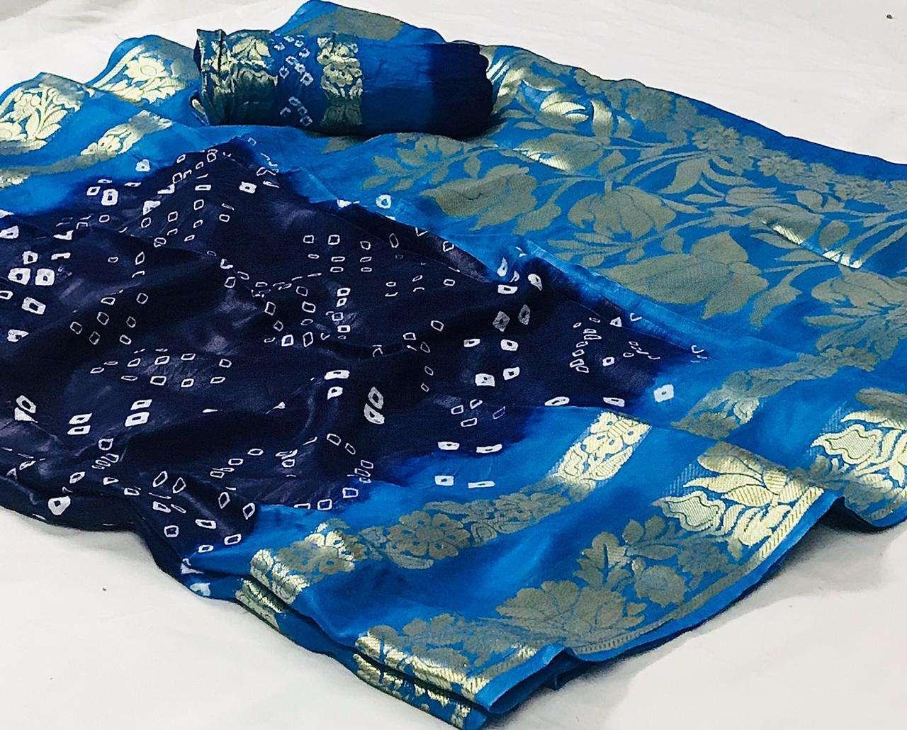 Art Silk With Zari Weaving Border Bandhej Sarees Collection 02