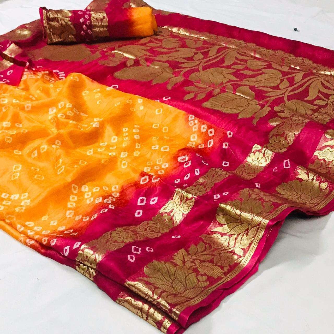 Art Silk With Zari Weaving Border Bandhej Sarees Collection 04