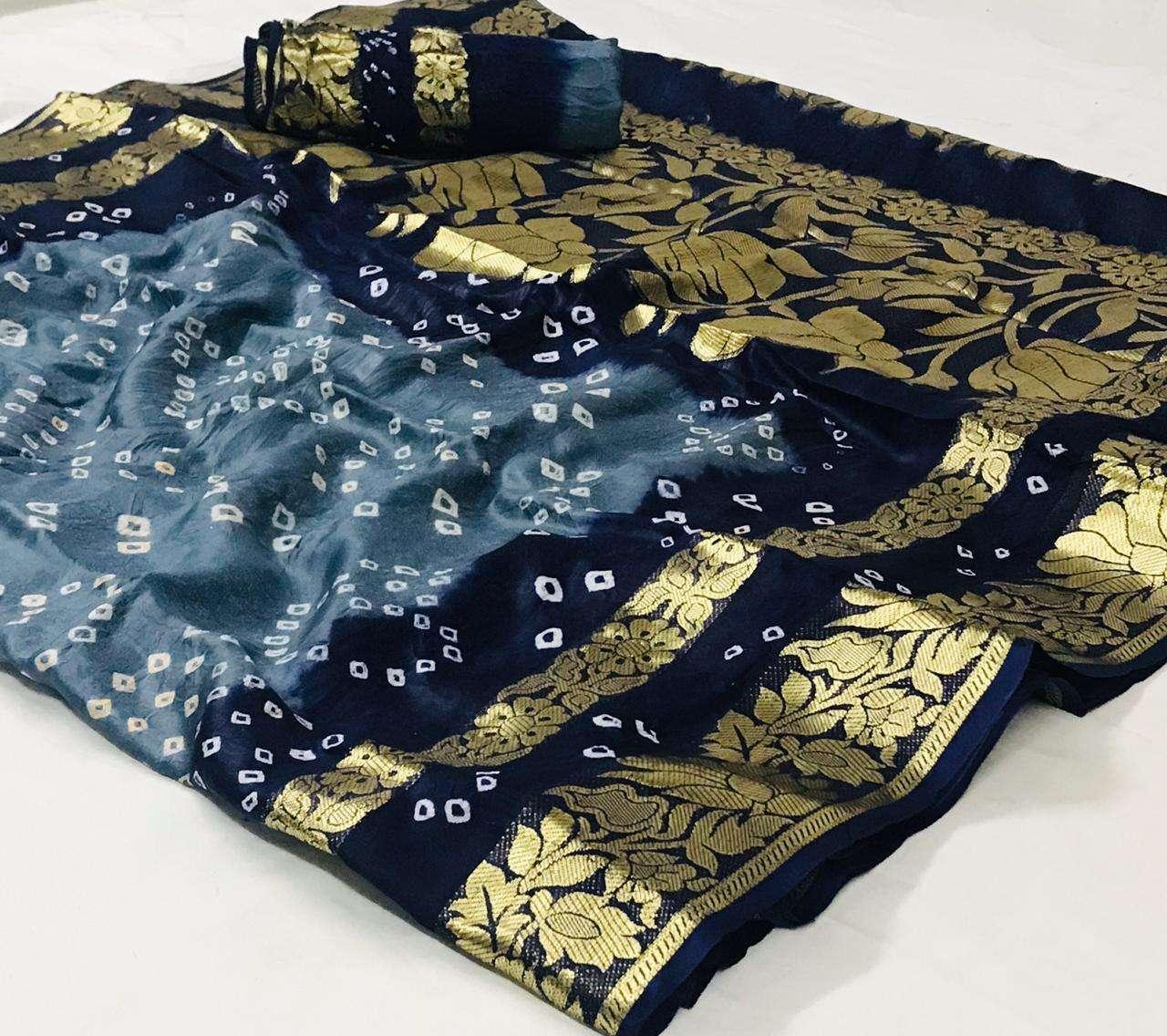 Art Silk With Zari Weaving Border Bandhej Sarees Collection 05