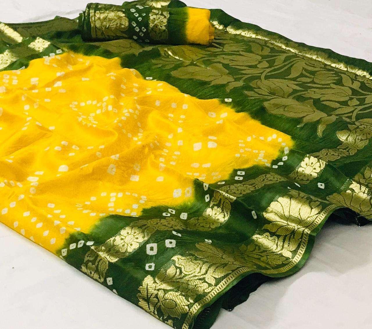 Art Silk With Zari Weaving Border Bandhej Sarees Collection 06