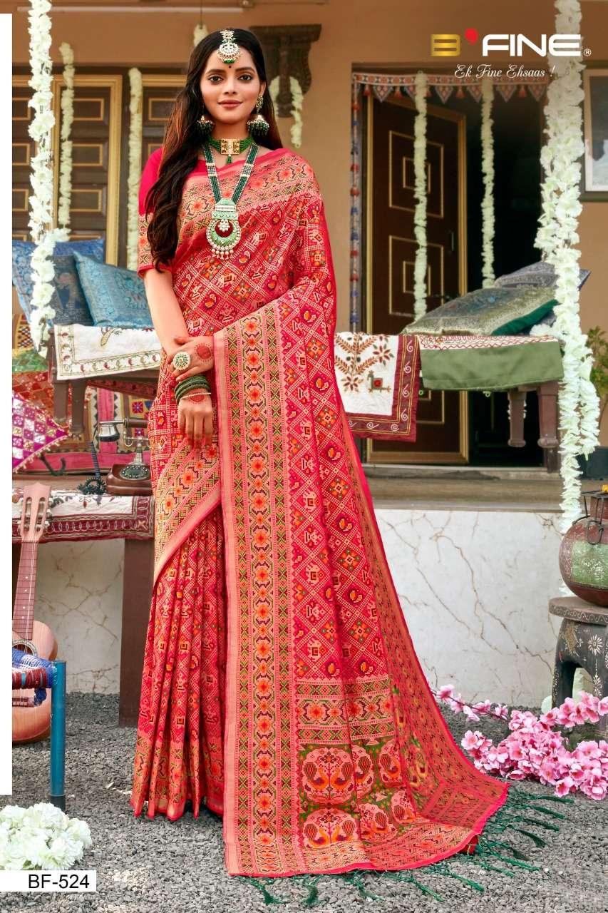 B Fine Patola Heavy Silk Designer Wedding Wear Sarees Collection  524