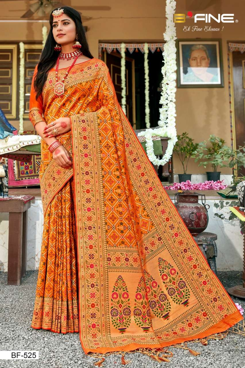 B Fine Patola Heavy Silk Designer Wedding Wear Sarees Collection  525