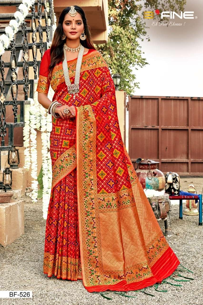 B Fine Patola Heavy Silk Designer Wedding Wear Sarees Collection  526