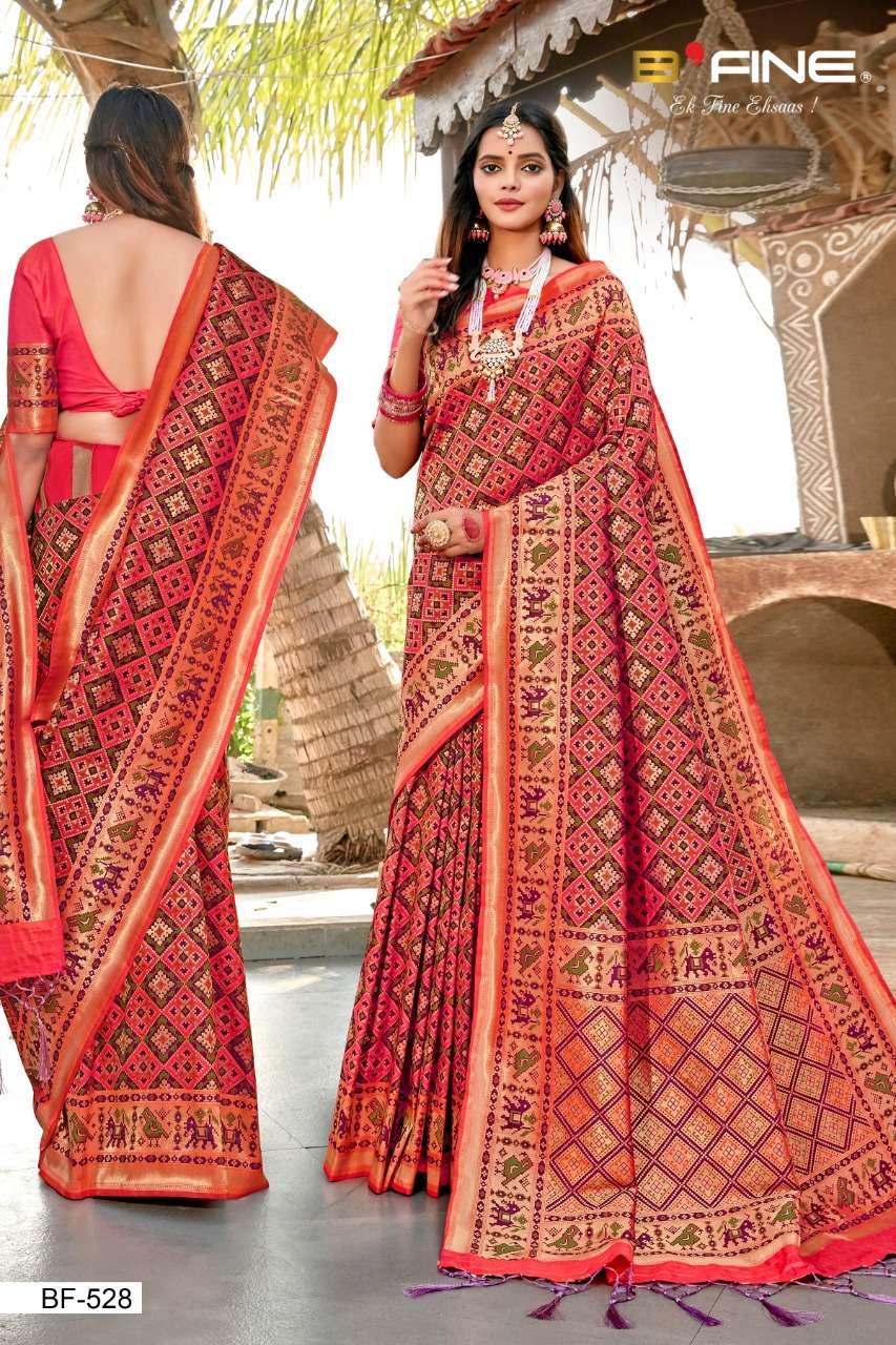 B Fine Patola Heavy Silk Designer Wedding Wear Sarees Collection  528