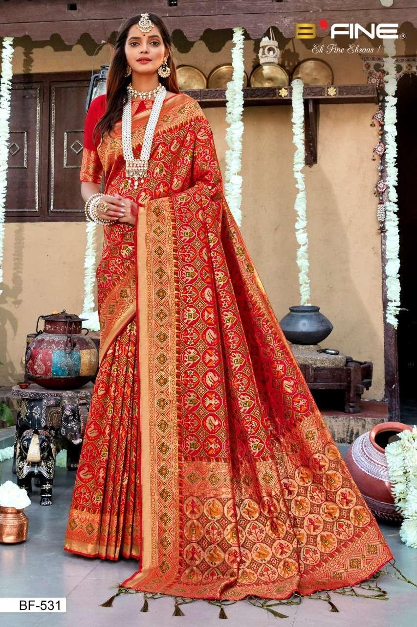 B Fine Patola Heavy Silk Designer Wedding Wear Sarees Collection  531