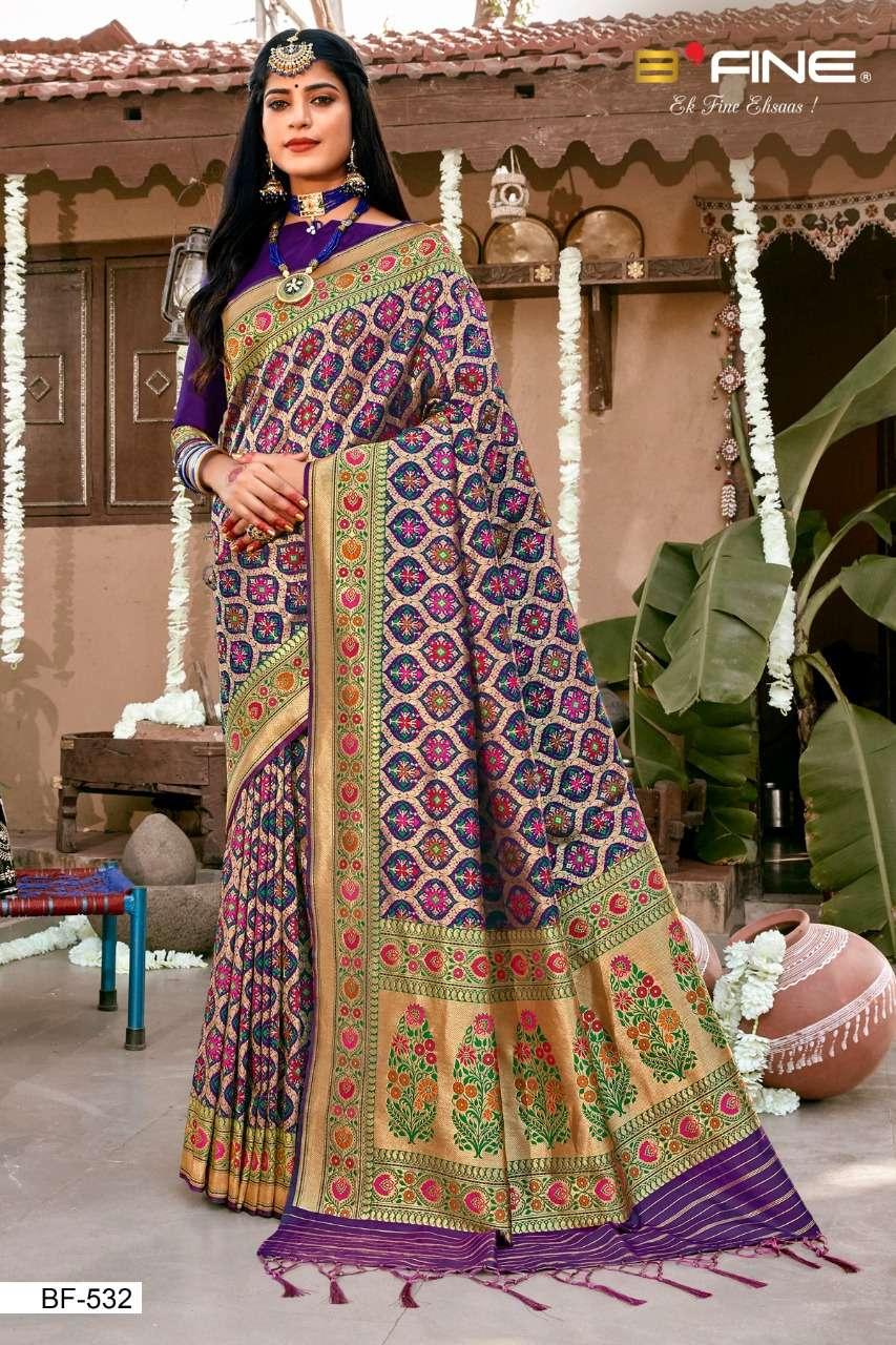 B Fine Patola Heavy Silk Designer Wedding Wear Sarees Collection  532