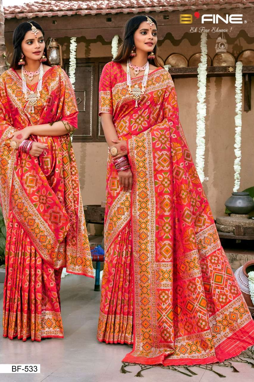 B Fine Patola Heavy Silk Designer Wedding Wear Sarees Collection  533